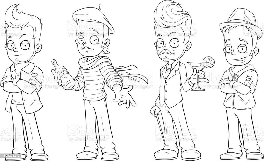 Ilustración de Chicos Guapos De Dibujos Animados Con Alcohol ...