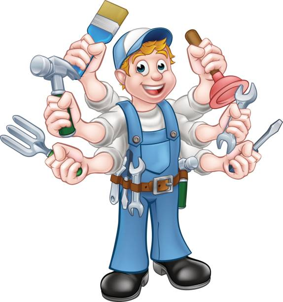 cartoon handyman - mechanic stock illustrations, clip art, cartoons, & icons