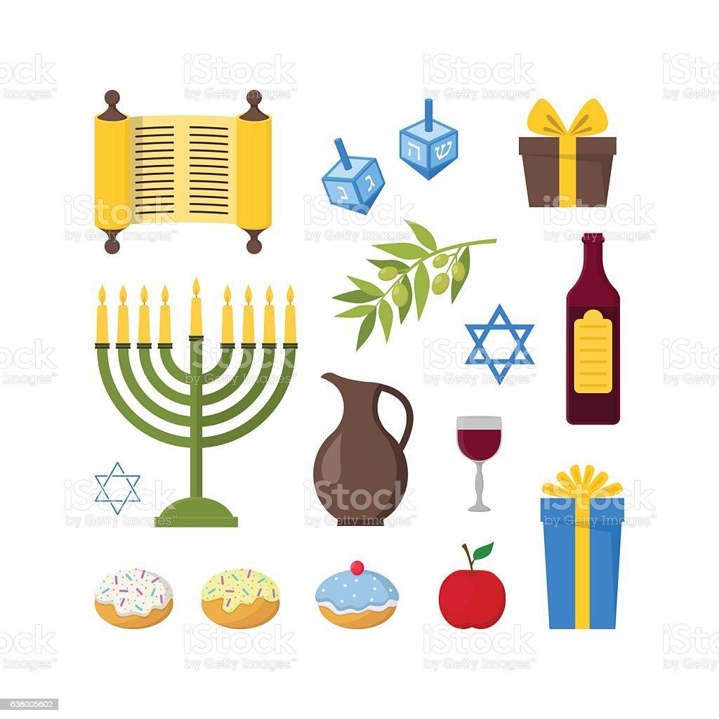 Cartoon Hanukkah Set. Vector vector art illustration
