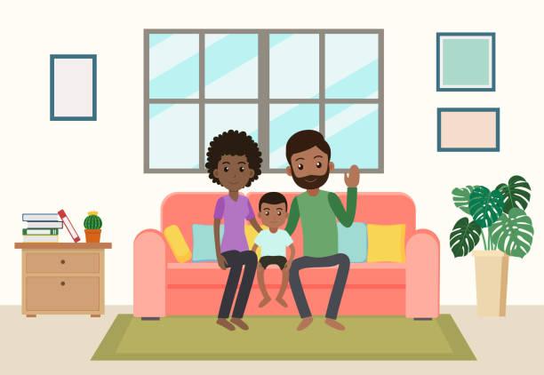 bildbanksillustrationer, clip art samt tecknat material och ikoner med cartoon glad afrikansk familj stanna hemma på soffan i vardagsrummet - vector illustration - cosy pillows mother child