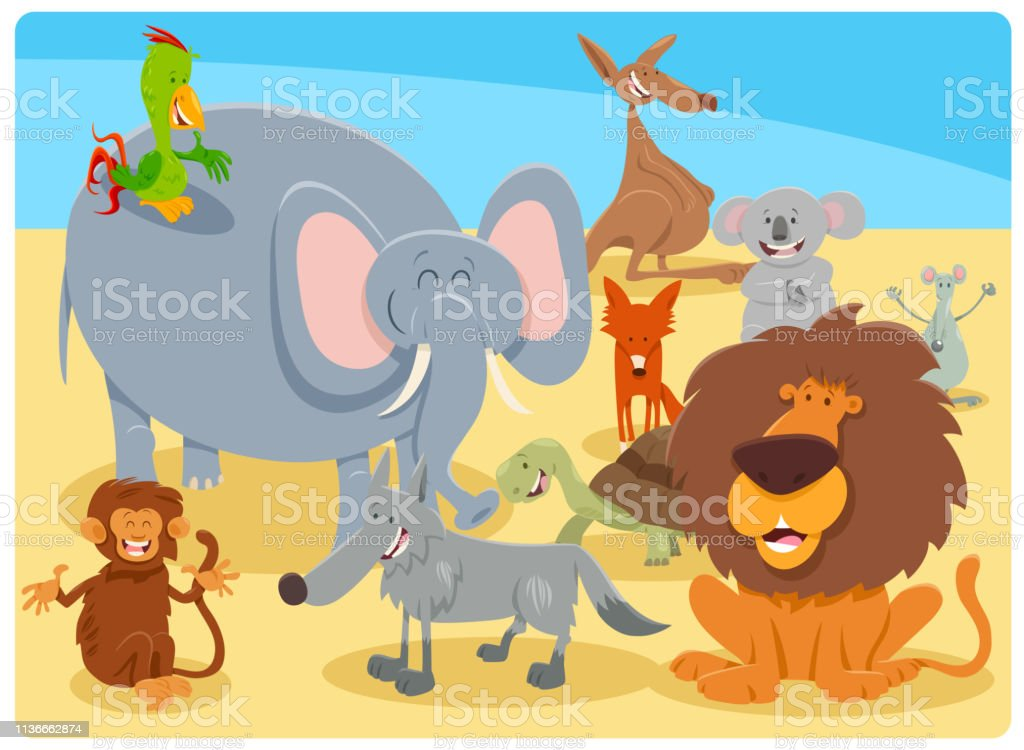 Cartoon Illustration of Happy Wild Animal Comic Characters