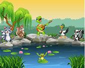Cartoon happy animals singing collection