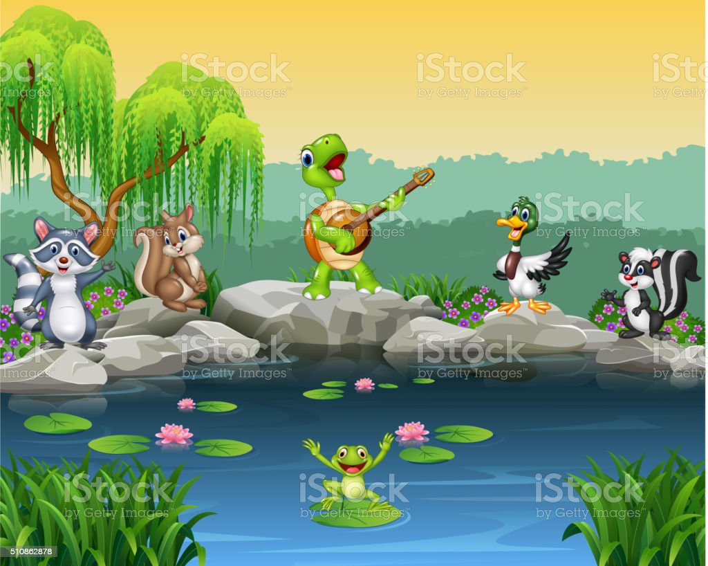 Cartoon happy animals singing collection vector art illustration