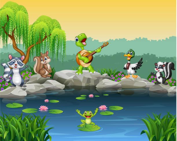 comic glücklicher tiere singen kollektion - seerosenteich stock-grafiken, -clipart, -cartoons und -symbole