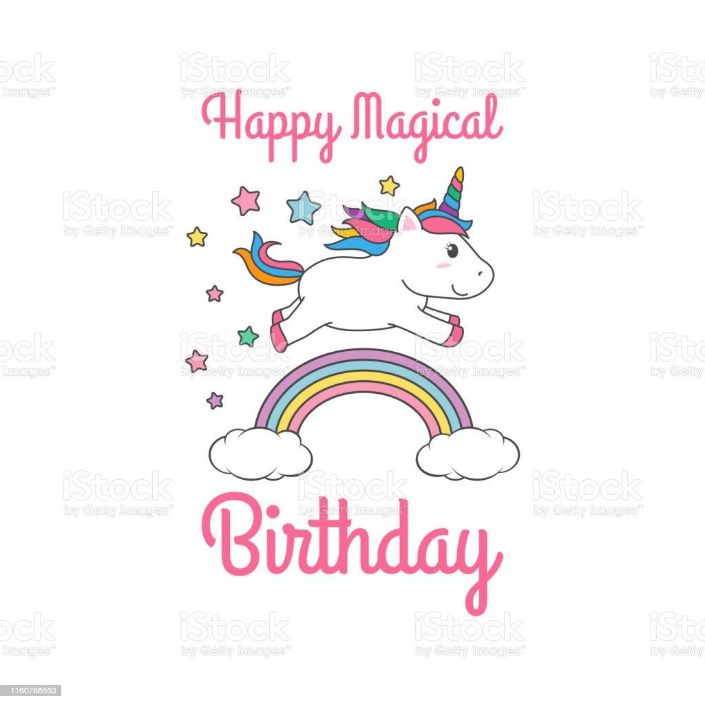 Ilustración De Dibujos Animados Feliz Cumpleaños Mágico
