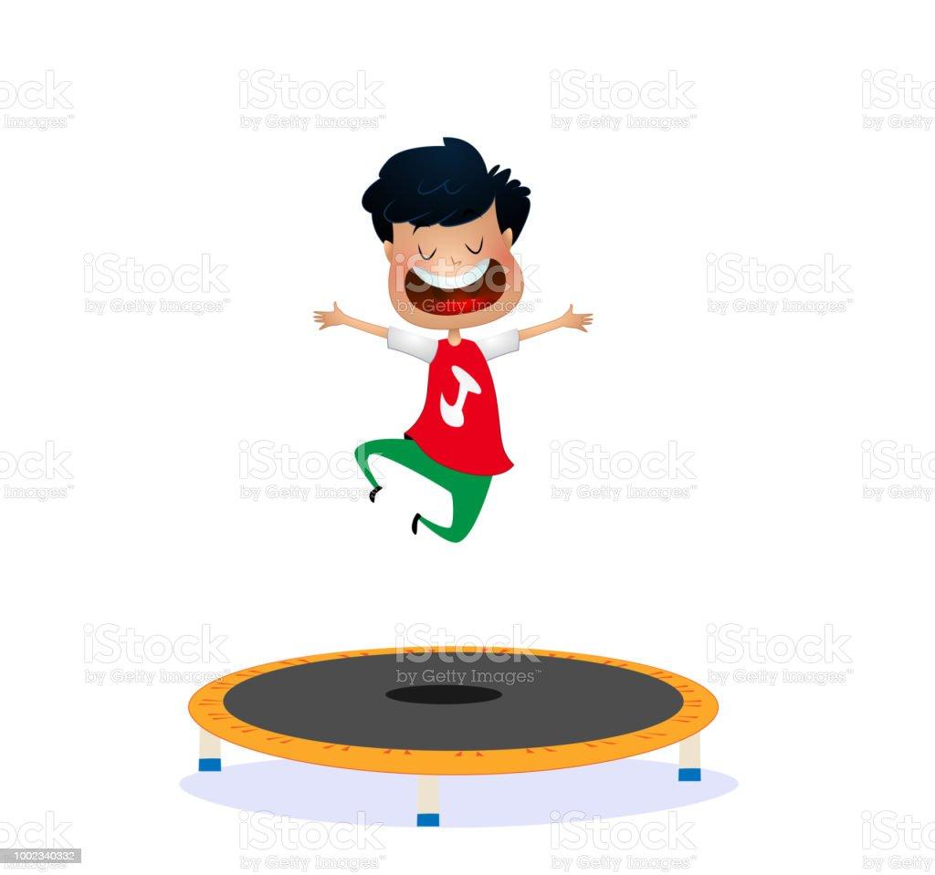 Cartoon happy boy jumping on trampoline vector art illustration