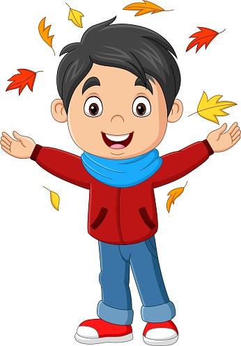 Cartoon happy boy with autumn leaves