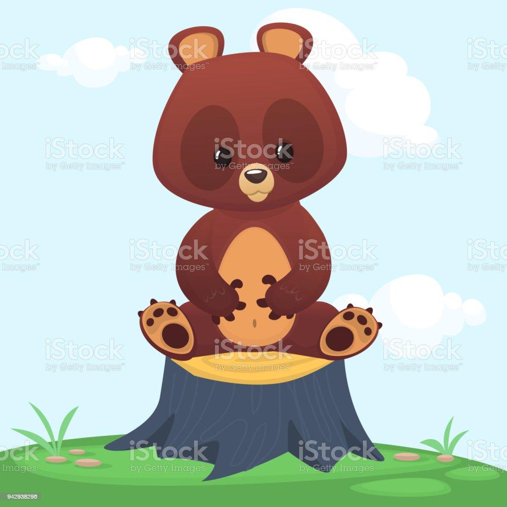 ilustração de desenhos animados feliz urso marrom sentado na árvore