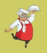 cartoon happy smiling chef dancing bears dish