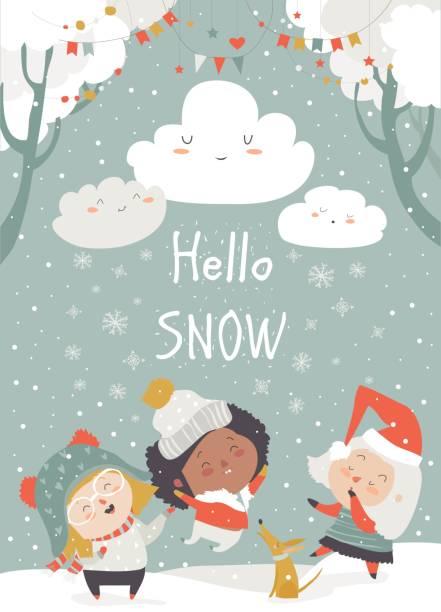 cartoon glückliche kinder genießen den schnee. hallo schnee - urlaubsaktivitäten stock-grafiken, -clipart, -cartoons und -symbole