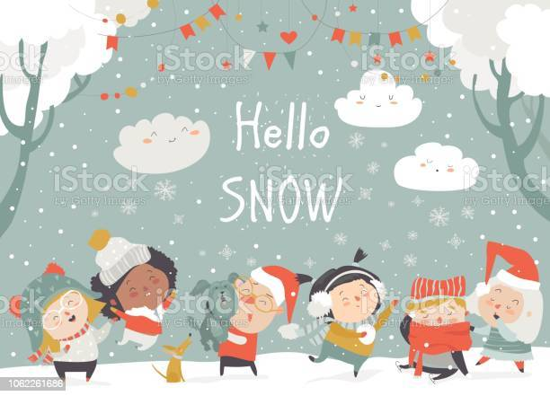 Cartoon happy children enjoying winter hello snow vector id1062261686?b=1&k=6&m=1062261686&s=612x612&h=es0viskl2pp1kmjsnjsm1br50rxguzsrrkx2ouwed4k=