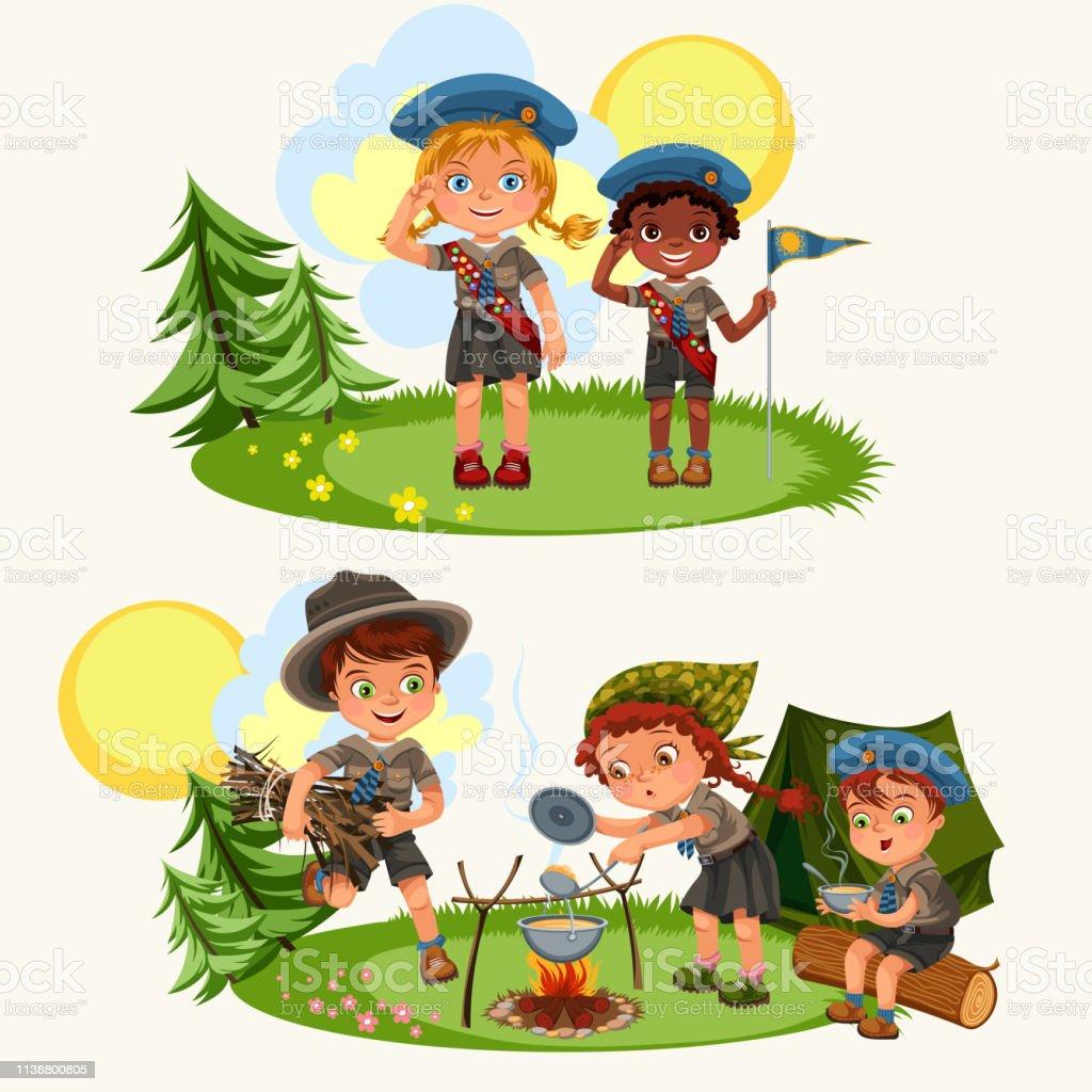 Cartoon happy children having fun together in forest. Pretty friends...