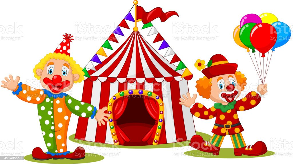 Cartoon happy clown in front of circus tent royalty-free cartoon happy clown in front  sc 1 st  iStock & Cartoon Happy Clown In Front Of Circus Tent Stock Vector Art ...