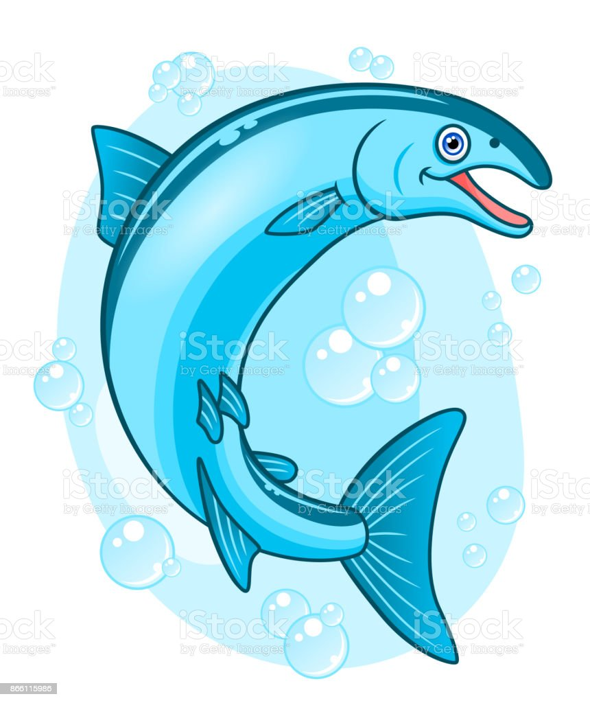 Cartoon happy coho salmon vector art illustration