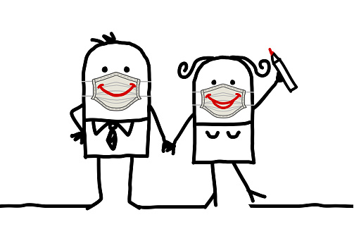Cartoon happy couple wearing hand-made protection masks with big smiles