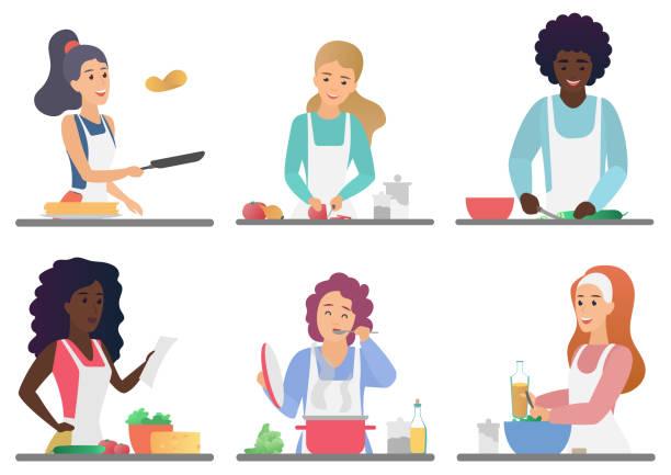 illustrazioni stock, clip art, cartoni animati e icone di tendenza di cartoon felice persone carine cucina impostare illustrazione vettoriale isolata. - cucinare