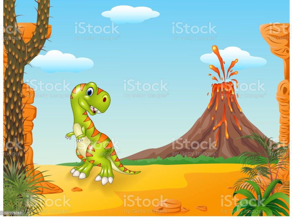Dinosaure Heureux En Dessin Animé Avec Fond Le Volcan