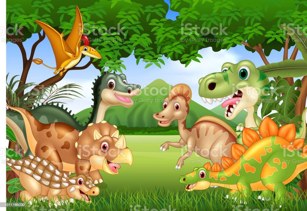 Vetores De Desenho Animado Dinossauros Felizes Morando Na Selva E