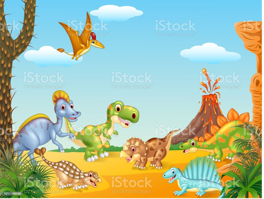 Dessin Animé Joyeux Dinosaures Avec Volcan Vecteurs Libres