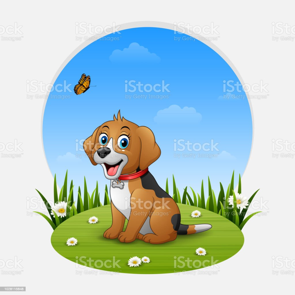 Cartoon Happy Dog Sitting On The Grass Stock Illustration Download Image Now Istock