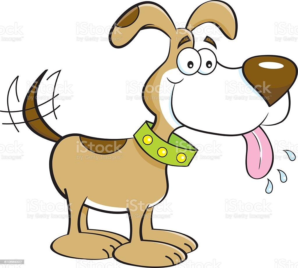 Cartoon happy dog. vector art illustration