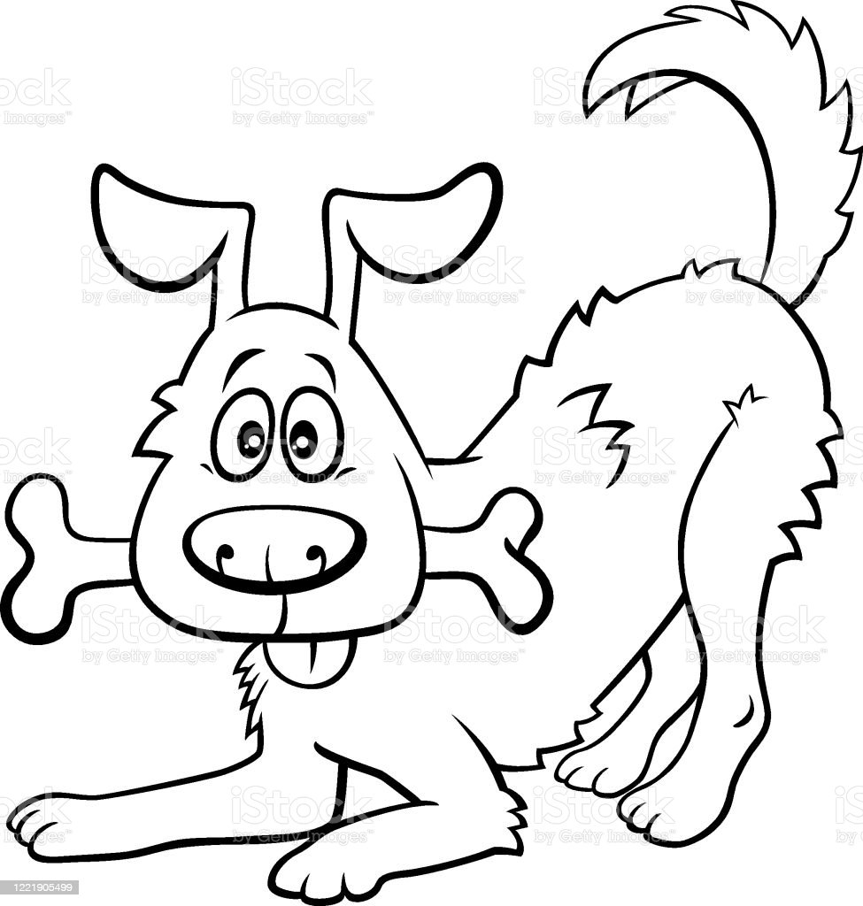 Cartoon Happy Dog With Bone Coloring Book Page Stock Illustration Download Image Now Istock