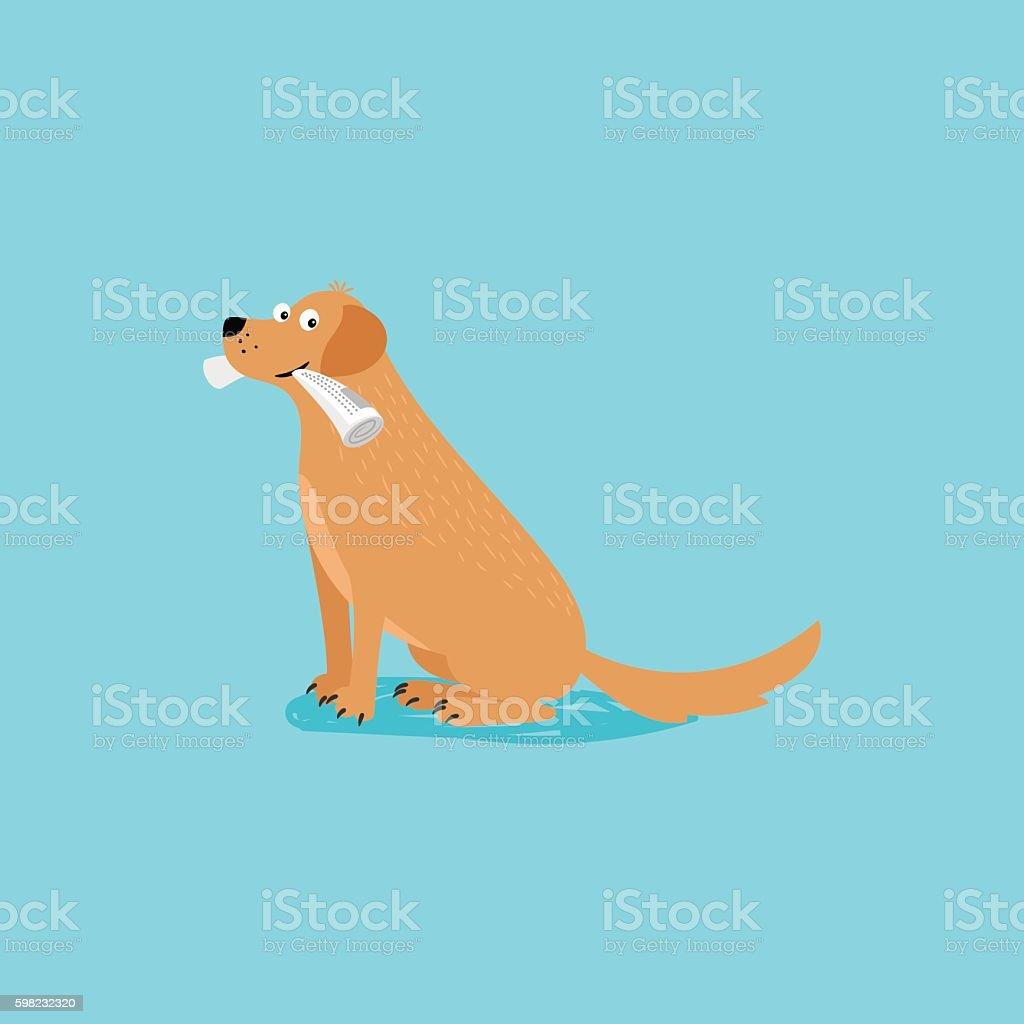Cartoon happy dog with newspaper ilustração de cartoon happy dog with newspaper e mais banco de imagens de animal royalty-free