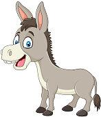 Cartoon happy donkey isolated on white background