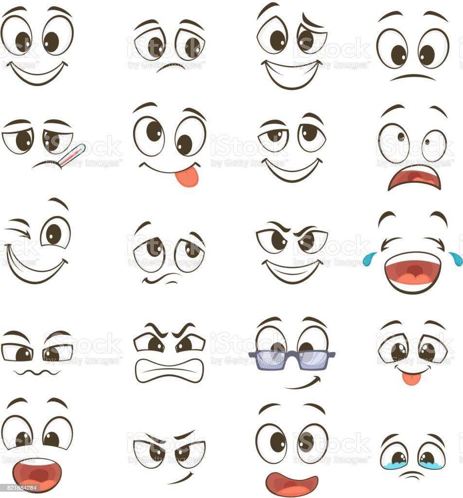 Desenho animado felizes rostos com diferentes expressões. Ilustrações vetoriais - ilustração de arte em vetor