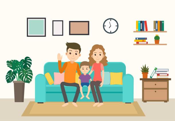 bildbanksillustrationer, clip art samt tecknat material och ikoner med cartoon lycklig familj stanna hemma på soffan i vardagsrummet - vector illustration - cosy pillows mother child