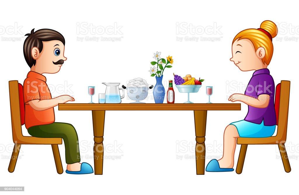 Ilustración De Dibujos Animados Feliz Padre Y Madre Comiendo En Mesa