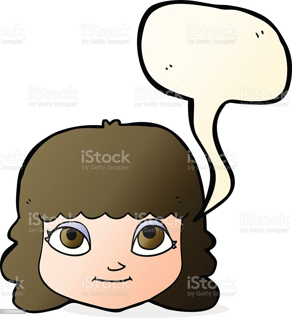 cartoon happy female face with speech bubble vector art illustration