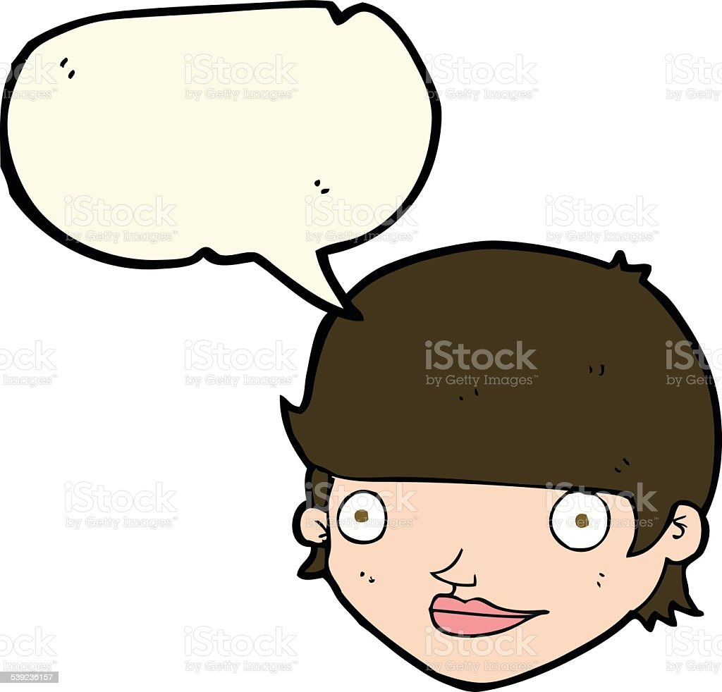 cartoon happy female face with speech bubble royalty-free cartoon happy female face with speech bubble stock vector art & more images of bizarre