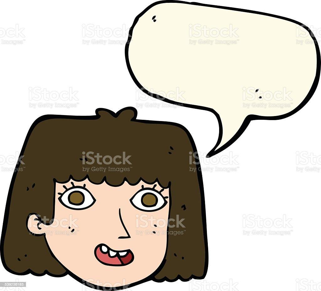 Rosto feminino feliz dos desenhos animados com discurso de Bolha ilustração de rosto feminino feliz dos desenhos animados com discurso de bolha e mais banco de imagens de balão - símbolo ortográfico royalty-free