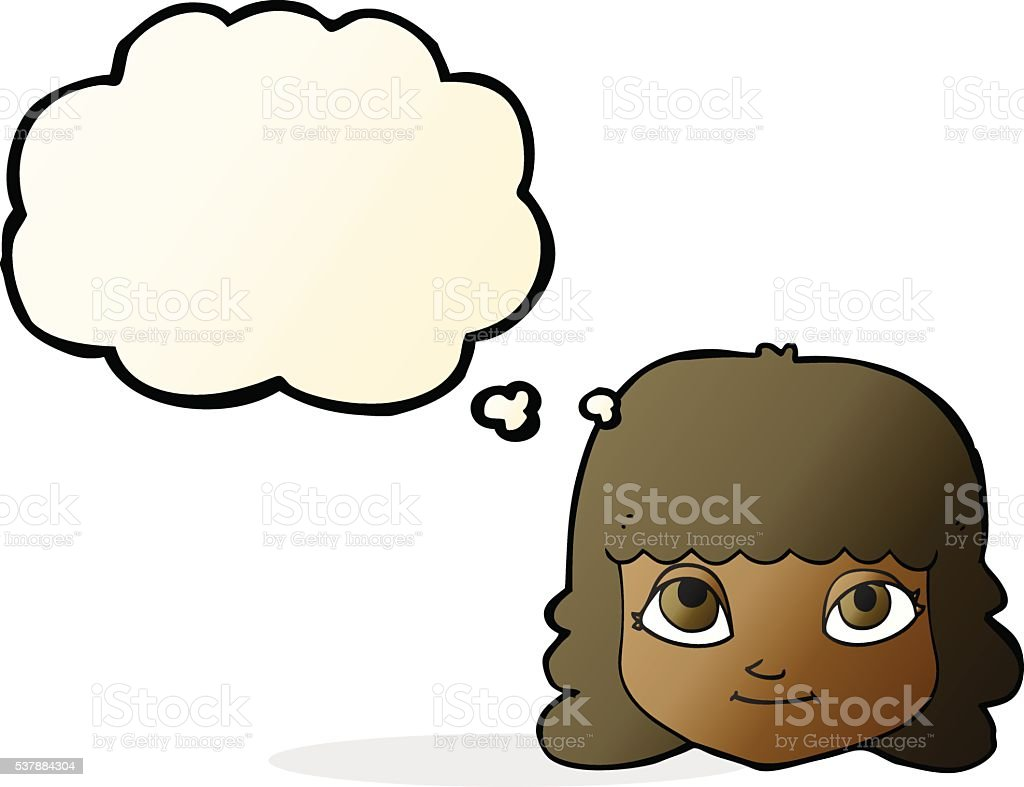 cartoon happy female face with thought bubble vector art illustration