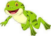 Vector illustration of Cartoon happy green frog jumping
