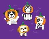 Cartoon happy halloween cute dogs