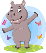Vector Illustration of a happy Hippo on the Savannah. File saved on layers for easy editing.