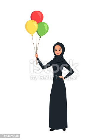 The happy Islamic woman holding color balloons in her hand.Cartoon Arab girl character with black hijab. Young Moslem businesswoman wearing scarf. vector illustration isolated from white background