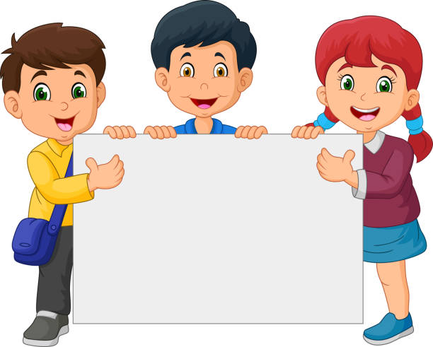 Royalty Free Students Holding A Blank Placard Clip Art
