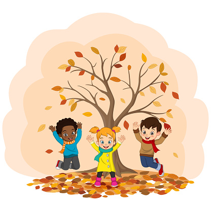 Cartoon Happy kids playing in autumn background