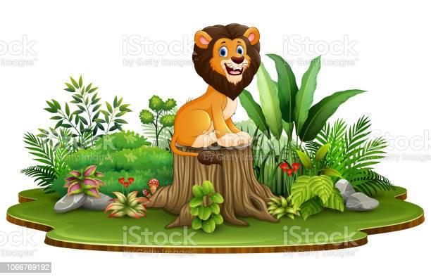 Cartoon happy lion sitting on tree stump with green plant vector id1066769192?b=1&k=6&m=1066769192&s=612x612&h=dbe848nogu9nax2x3cpo2cltfppa9wulma to3arvps=