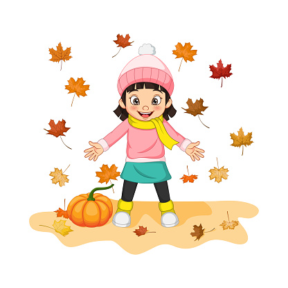Cartoon Happy little girl with pumpkin and autumn leaves