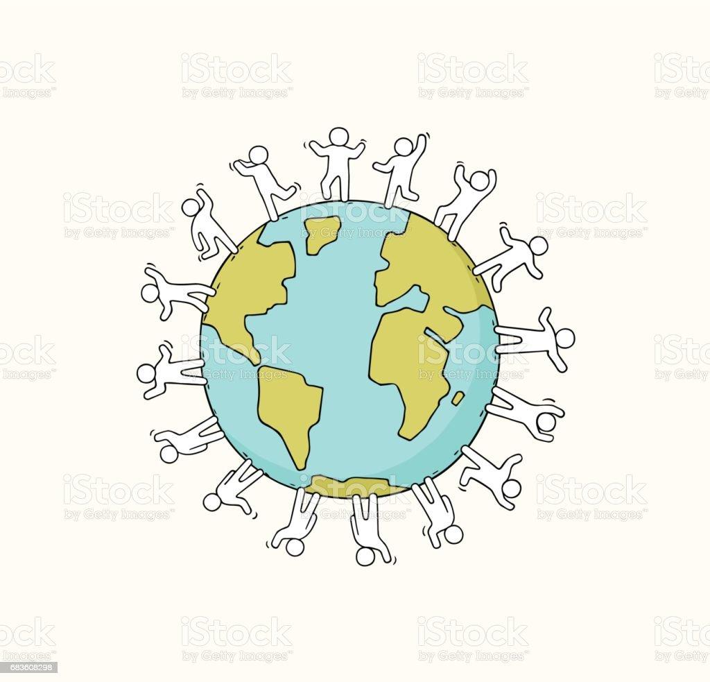 Cartoon Happy Little People Standing Around The World Stock Vector