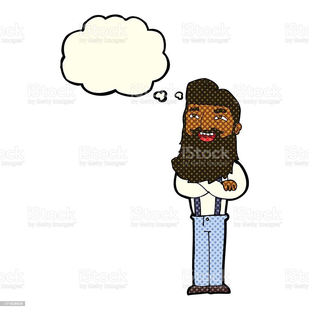 Ilustración de Hombre Con Barba Feliz De Historieta Con Burbuja De ...