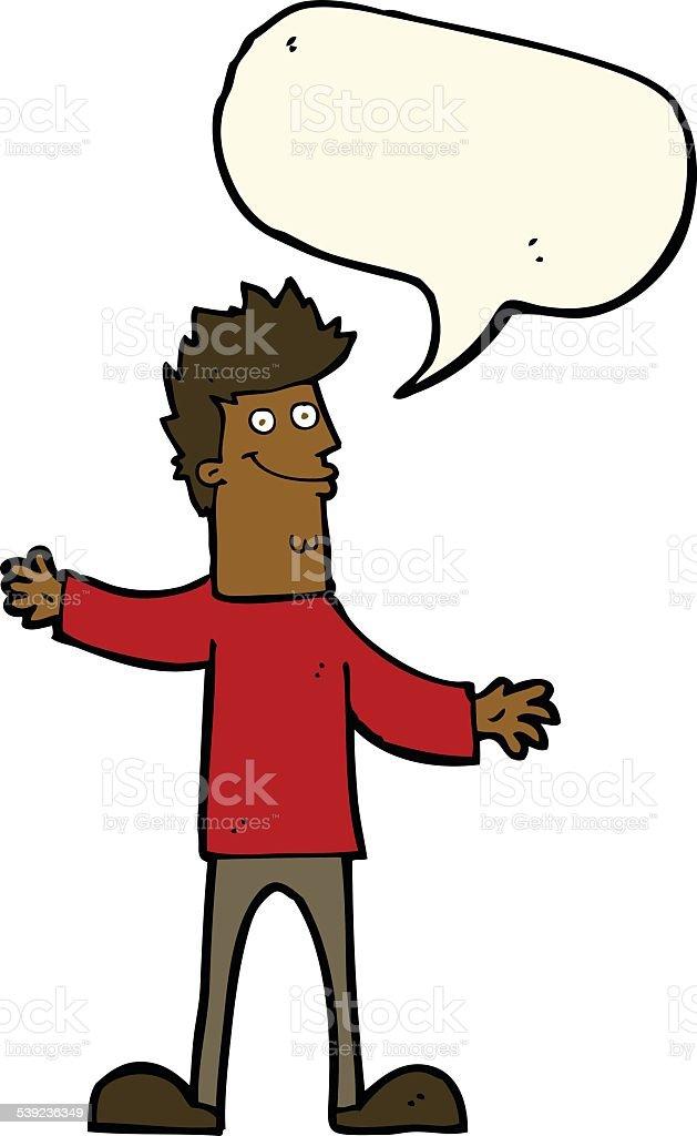 Hombre feliz de historieta con burbuja de discurso ilustración de hombre feliz de historieta con burbuja de discurso y más banco de imágenes de adulto libre de derechos