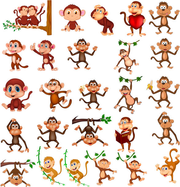 cartoon happy monkey collection with different actions - monkey stock illustrations