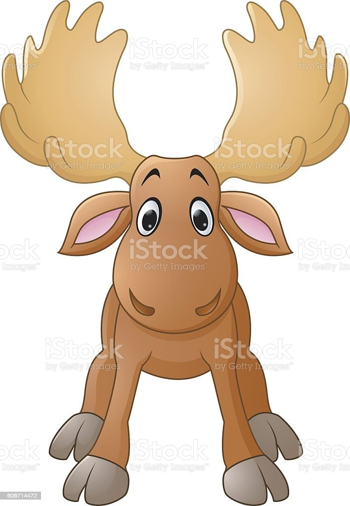 Cartoon happy moose with big horns vector art illustration