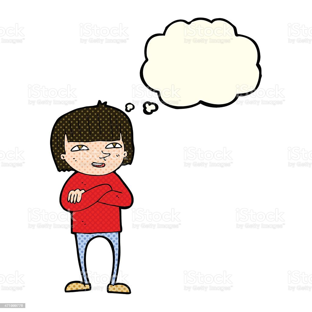 cartoon happy person with thought bubble vector art illustration