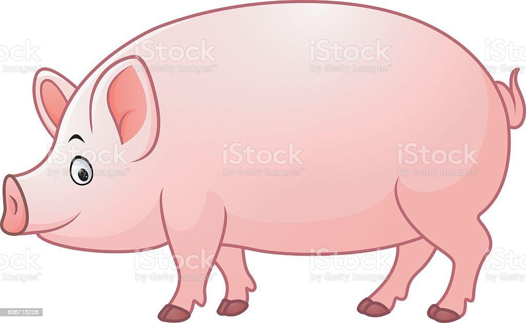 カットイラストハッピーな豚の丸焼き イラストレーションのベクター
